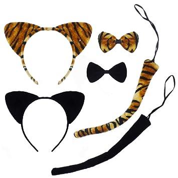 Ears /& Bow Tie Set Black Fancy Dress Ladies Accessory Halloween Hen Cat Tail