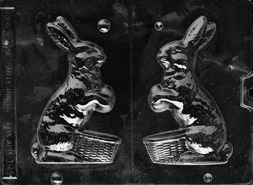 Cybrtrayd Life of the Party E104 Bunny with Basket Easter Chocolate Candy Mold in Sealed Protective Poly Bag Imprinted with Copyrighted Cybrtrayd Molding Instructions (Bunny Mold Candy)