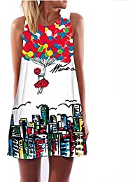 Summer Women O-Neck Sleeveless Dresses Heart-Shaped Love Printed Fashion Loose-Fitting