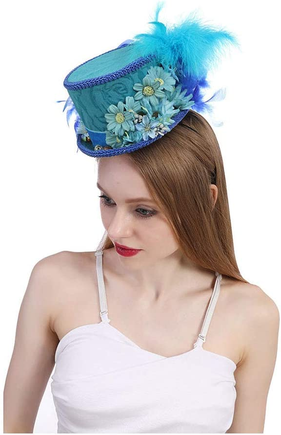 Duyani Mini Sombrero de Copa Derby de Kentucky, Sombrero Azul Real de la Mariposa Carrera de Caballos, Sombrero de Mariposa, Sombrero Azul de la Fiesta del té (Color : Blue, Size : 25-30cm)
