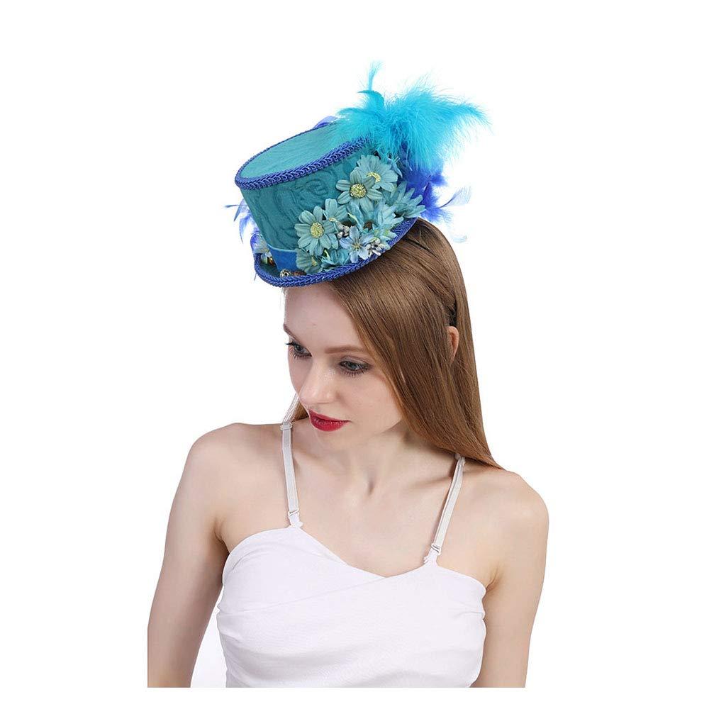 LL Women's Mini Top Hat, Royal Blue Butterfly Hat Horse Race Hat, Butterfly Hat Blue Tea Party Hat Kentucky Derby (Color : Blue, Size : 25-30cm)