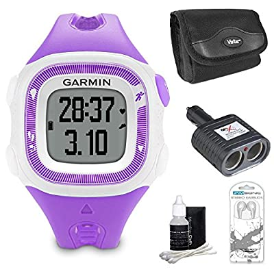 Garmin Forerunner 15 Heart Rate Monitor Bundle Small - Violet/White Bundle - Includes Heart Rate Monitor, Car Charger for GPS, Carrying Case, Noise Isolation Headphones and 3pc. Lens Cleaning Kit