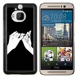 LECELL--Funda protectora / Cubierta / Piel For HTC One M9Plus M9+ M9 Plus -- Significado Manos Dibujo Tinta Negro --