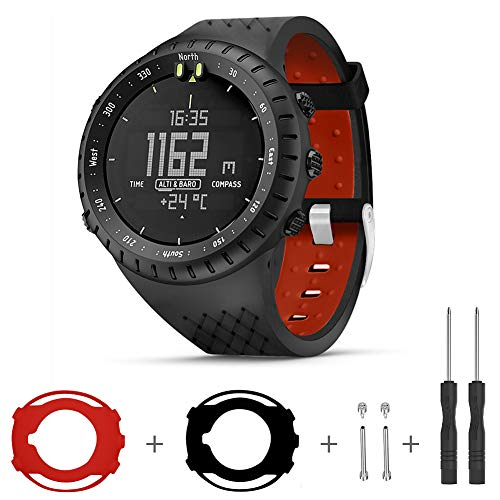 Sibode for Suunto Core Watch Band, Rubber Replacement Watch Band, Soft Wrist Band Strap with Metal Clasp for Suunto Core Smart Watch, Black & Red