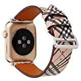 For Apple Watch Band Digital Genuine Leather Watch Strap Wristband Replacement iwatch series 1 2 3 khaki 42mm
