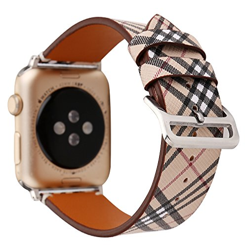 (HotGlows 42mm Tartan Plaid Style Replacement Strap Wrist Band with Silver Metal Adapter Compatible with Apple Watch Series 3 2 1)