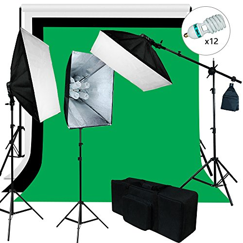 Julius Studio 6 X 9 ft. Background Support and Softbox 4 Bulbs Continuous Lighting Kit for Photo Studio, Viedo Shoot Photography, JSAG259 by Julius Studio