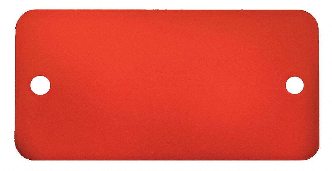 Red Blank Tag, Aluminum, Rectangle, 3/4'' Height, 5 PK