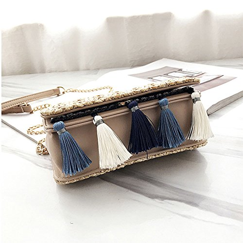Fairy Gray Crossbody Bag Tassel Woven Small Straw Square Female Single Gaoqq Bag Bag Khaki Fashional Straw Bag xqt6aWwE