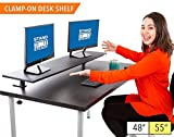 Stand Steady 55'' Clamp-on Desk Shelf - Extra Large Surface Supports 3 Monitors - Sturdy 4.5 ft Monitor Riser Easily Attaches with Clamp - No Screws Needed! (Extra Large 55 Inches)