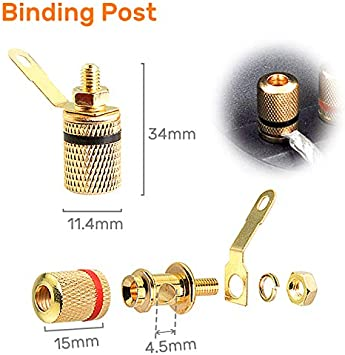Kalevel Set of 6 Subwoofer Box Terminal Connector Cup Binding Post Spring Loaded Screw Type 82mm Round for DIY Home Car Stereo