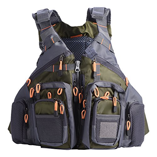 Neo Infant Vest (Naroote Adult Life Jacket Vest Lifesaving Waistcoat with Multi-Pockets & Reflective Bands for Fishing Outdoor Activities, Adjustable Size(Army Green))