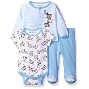 Nannette Baby Boys' 3 Piece Layette Set with Cardigan Creeper and Pant, Blue, 3-6M