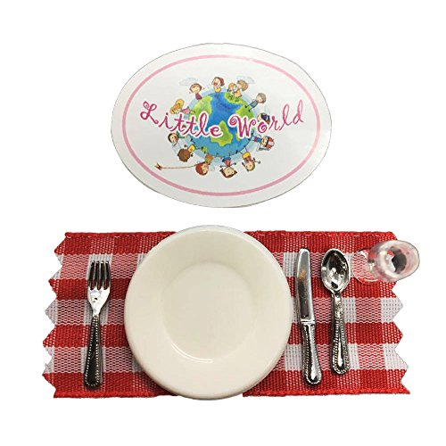 Dollhouse Dining Room Accessories: Dinnerware Set [Wine Glass, Dinner Plate, Dinner Knife, Dinner Fork, Dinner Spoon and Free!! Mini Place mat], The same size as Barbie dollhouse. by Little World