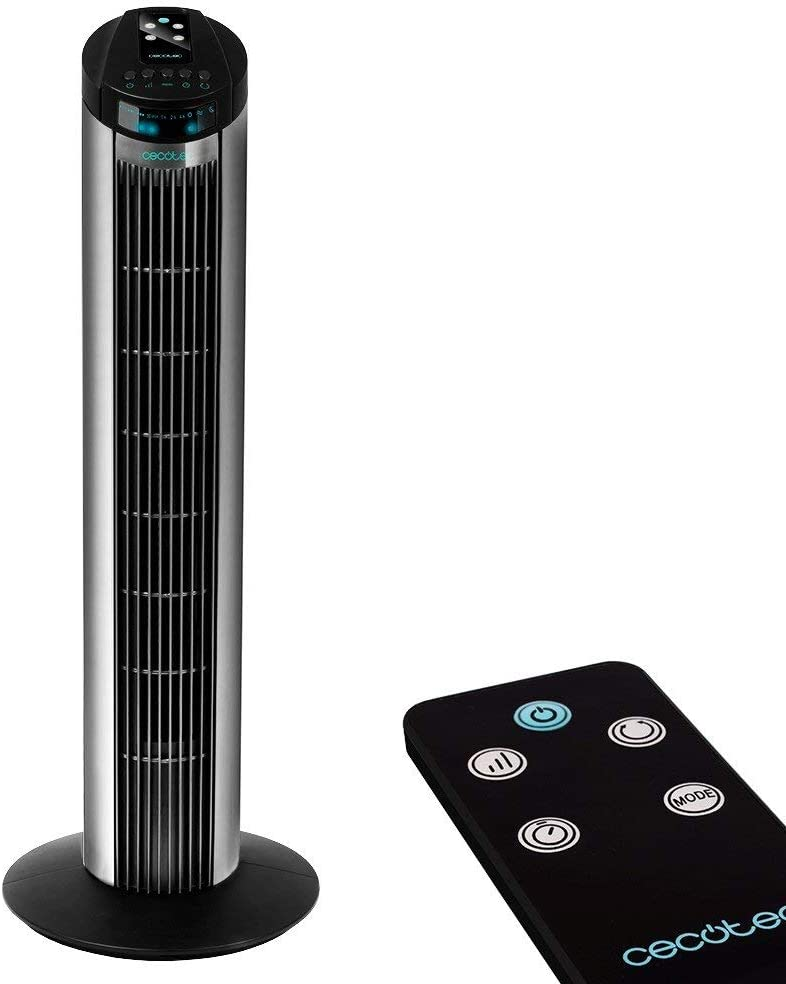Cecotec ForceSilence 890 Skyline Ventilador de Torre Digital, 3 Velocidades, 3 Modos, Temporizador 7.5h, Silencioso, Motor de Cobre, Color Blanco, Negro