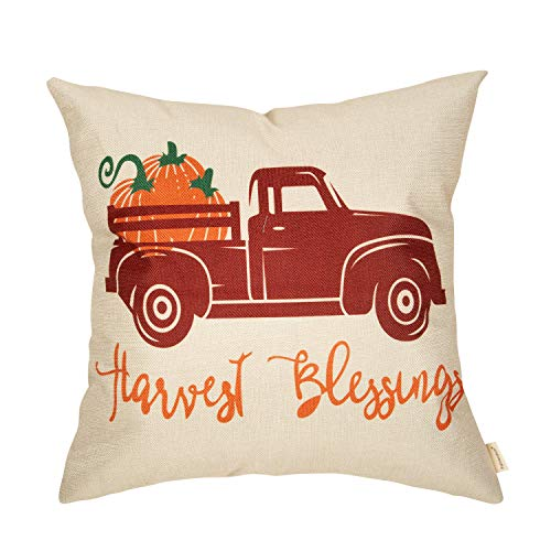 Fahrendom Fall Farmhouse Rustic Home Décor Thanksgiving Day Autumn Harvest Decorative Throw Pillow Cover Blessing Vintage Pumpkin Truck Sign Decoration Cotton Linen Cushion Case, Sofa Couch 18 x 18 In