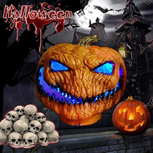 quysvnvqt Horrible Evil Pumpkin Light Battery Powered Lamp Halloween Party Holiday Decor for Halloween - Orange Black