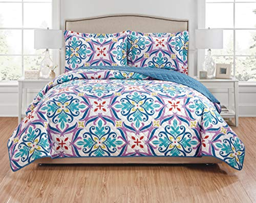 (RT Designers Collection Hannah 3-Piece Reversible Quilt Set-Queen, Purple/Teal/Navy/Green/Red)