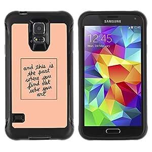 Suave TPU Caso Carcasa de Caucho Funda para Samsung Galaxy S5 SM-G900 / Quote Peach Minimalist Text / STRONG