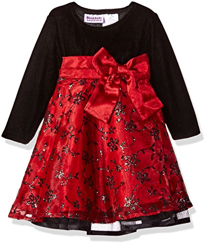 Blueberi Boulevard Girls' Long Sleeve Flocked and Glitter Emb Overlay Dress, Red, 12 Months