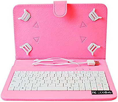 HOME a107400-8-PINK - Funda para Tablet con Teclado, Color Rosa