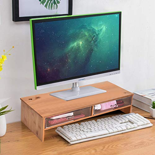 US Fast Shipment Quaanti Bamboo Computer Monitor Stand Riser with Drawers Organizer,Desktop,Laptop Stand Riser with Keyboard Storage Shelf,Cellphone TV Printer Stand Desktop Container (Yellow) (Pine Tv Riser Stand)