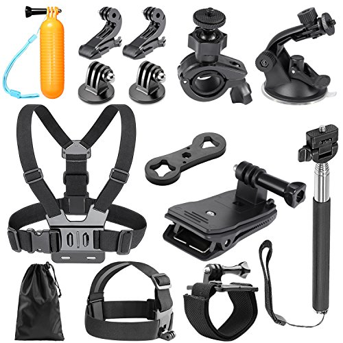 Neewer 14-in-1 Outdoor Sports Action Camera Accessory Kit for GoPro Hero Session/5 Hero 1 2 3 3+ 4 5 6 7 SJ4000 5000 6000 DBPOWER AKASO VicTsing APEMAN WiMiUS QUMOX Lightdow And Sony Sports DV