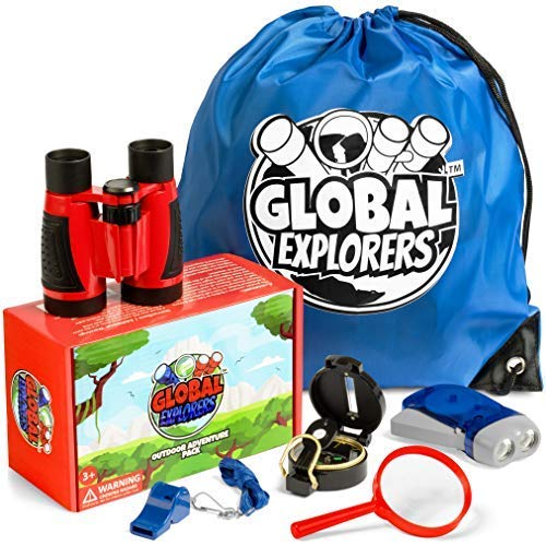 Global Explorers Outdoor Exploration Kit for Adventure Kids Binoculars, Flashlight, Compass, Whistle, Magnifying Glass, Backpack. Educational Gift Set for Hiking and Camping