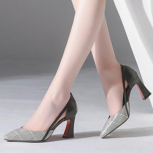 à pour Mode Talons Pointues Sandales Carreaux épais DKFJKI en Joker Cuir Femmes Chaussures Talons Hauts Black à wEnYqX6