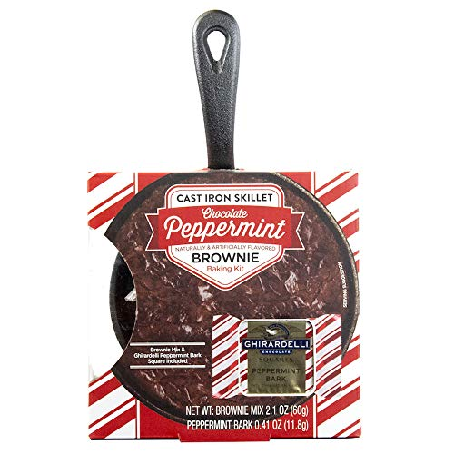 Mini Chocolate Brownie Cast Iron Skillet Baking Kit: Ghirardelli Peppermint Edition | With Brownie Mix and Ghirardelli Peppermint Bark Squares