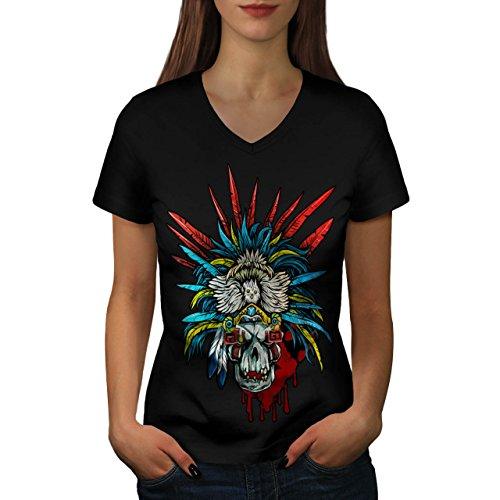 [Skull Indian Warrior Costume Women NEW M V-Neck T-shirt | Wellcoda] (Mayan Warrior Costumes)