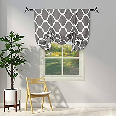 Amazon Com Melodieux Moroccan Thermal Insulated Tie Up Shade Room Darkening Blackout Rod Pocket Curtain For Small Window 42 By 63 Inch Grey 1 Panel Home Kitchen