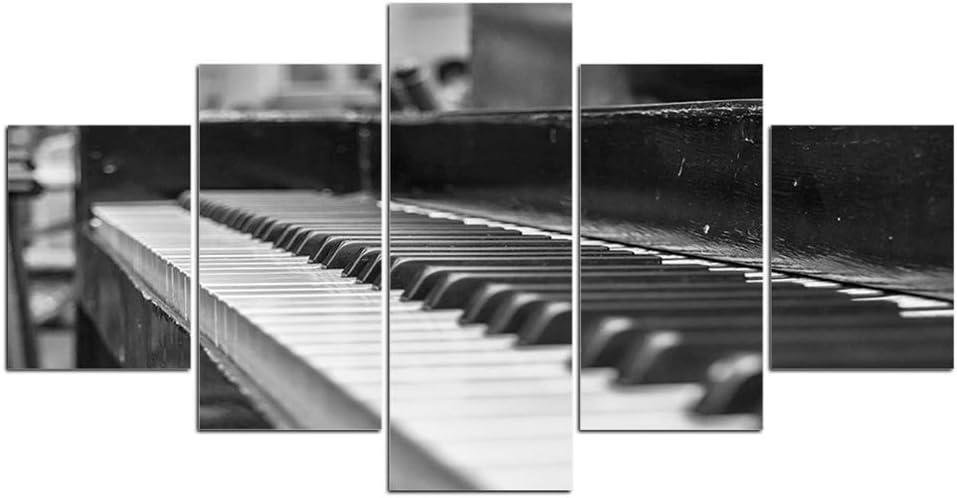 KANGZEDT Pintura sobre lienzo - 5 piezas 150*80CM Instrumento musical piano Cuadro sobre Lienzo - Modernos Mural - Impresión en Lienzo - Listo para Colgar - decoración del hogar Arte Cuadro en Lienzo