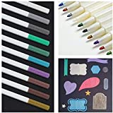 Tiiplii Metallic Marker Pen Set of 10 Assorted Colours, For DIY Photo Album, Calligraphy, Scrapbooking Card Making & More, Non-Toxic (Round Tip) Marker Pens.