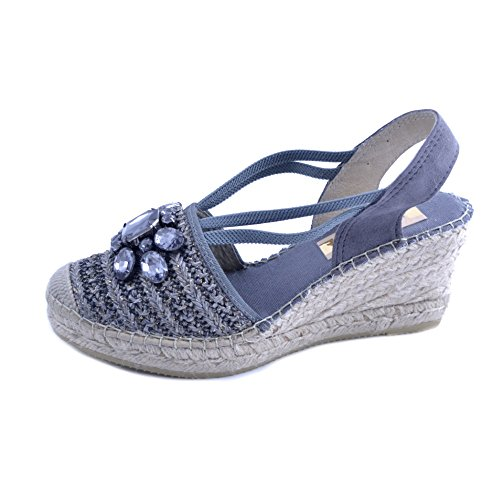 Sandals and Sole with Women's Rubber with Wedge in Raffia 7cm Bands Graphite Gray Fabric Elasticated Applied Rafia Gemstones 37 Vidorreta Braided Size P54Sqw