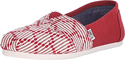 TOMS Women's Classic Slip-On Red Woven 8 B(M) US