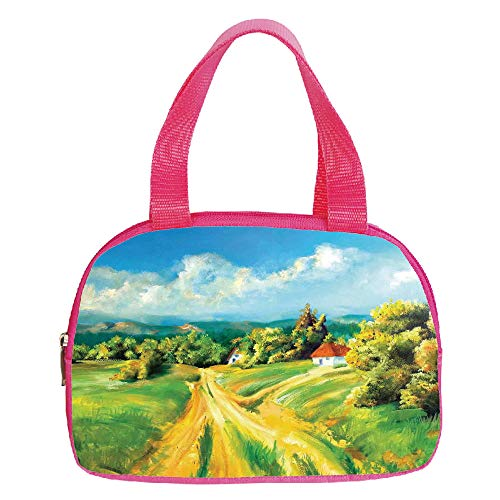 - Polychromatic Optional Small Handbag Pink,Flamingo,Flamingo Pattern and Greenery Grass Lake River Floral Design Artwork,Green Light Pink Cream,for Girls,Print Design.6.3