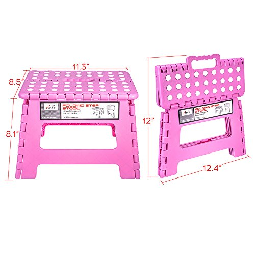Acko 9 Inches Pink Folding Step Stool With Anti Slip