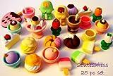 25 Dessert Cake Ice Cream Baby Flower Japanese Erasers TRC Dream IWAKO