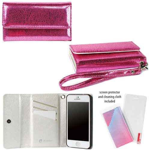 JAVOedge Creased Metallic Clutch Wallet Case with Wristlet and Screen Protector for Apple iPhone 5, iPhone 5s (Pink)