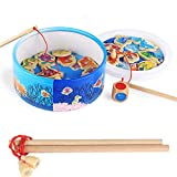 Children Toys, TechCode Magnetic Wooden Fishing Toy Game Children Fishing Toys Set Kids Educational Toy for 20 Fishes with Gifts Box for Kids Toddler Boys Girls