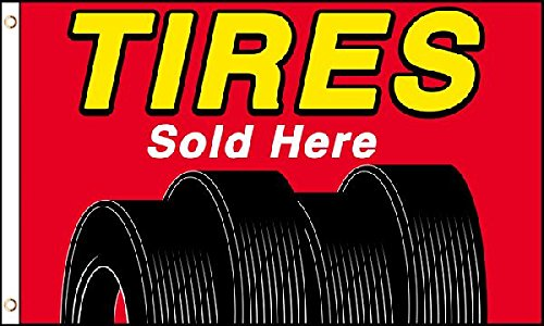3x5 Tires Sold Here Flag Lot of 2 Flags Super Polyester Nylo