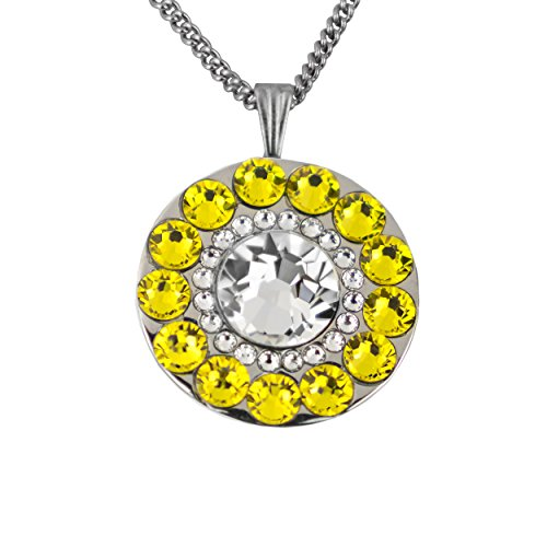 Girls Golf Bling Swarovski Crystal Golf Ball Markers with Magnetic Necklace - Premium Golf Gifts for Women (Waikoloa Citrine Yellow) ()