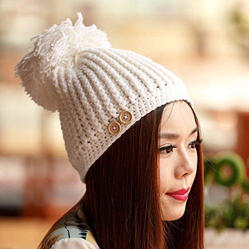 Maozi Señora otoño/Invierno Postes Huesos Gruesos versión Coreana del Sombrero de Lana de Punto, White WHITE