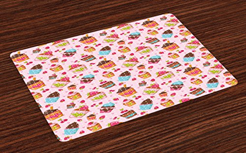 Ambesonne Pink Place Mats Set of 4, Kitchen Cupcakes Muffins Strawberries and Cherries Food Eating Sweets Print, Washable Fabric Placemats for Dining Room Kitchen Table Decor, Pale Pink and Brown ()