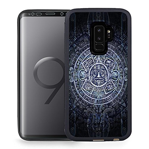 Case for Galaxy S9 Plus, Black TPU Rubber Gel Design Cover for Samsung Galaxy S9 Plus 2018 Release - Aztec (Aztec Design)
