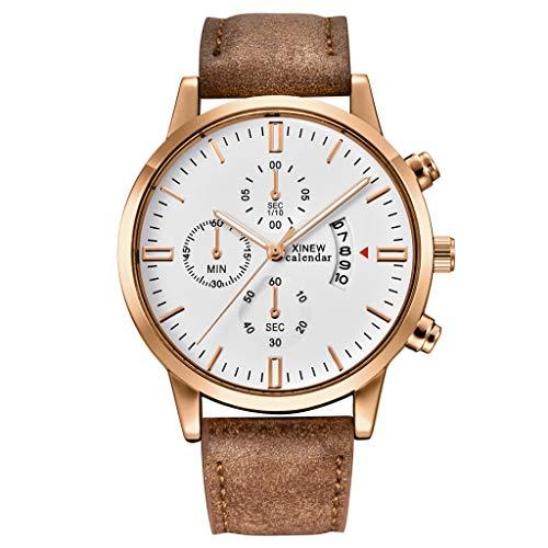 nightfall Men's Alloy Quartz Watches Analog calendar Date Business Casual Wristwatch Waterproof 30M Dial Brown Genuine Leather