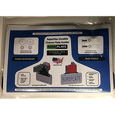 SurePlate TM Trailer/Truck EM16002 Rubber License Plate Holder Bracket, Economy-Max, Fasten: Automotive