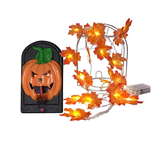 Sunny seat Halloween Decorations Party Favors, Halloween Pumpkin Glow Skull Ring Doorbell, Wall Hanging Witch Decor Set