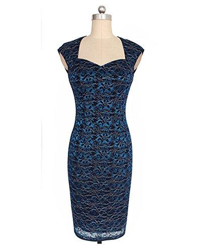 Vestito Vestiti Sera Mini Blu Elegante Manica Senza Cocktail Stampa Abiti Donna Pizzo Bodycon Cerimonia Di pqxFvwR